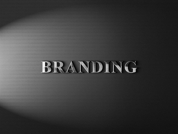 Glänzendes 3d-logo-modell auf strukturiertem kohlefaserpapier