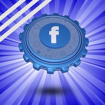 Glänzendes facebook-logo isoliert 3d-design