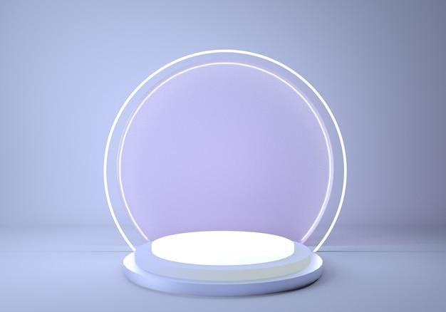 Glänzendes metallpodest mit rundem neonrahmen isoliert