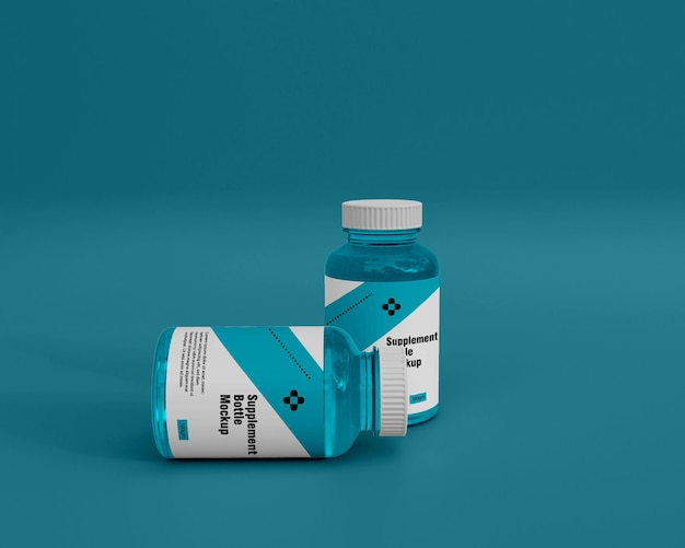 Glänzendes modell der medizinflasche für nahrungsergänzungsmittel 3d
