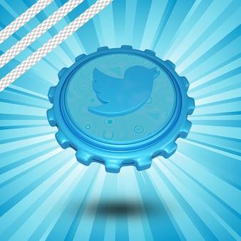 Glänzendes twitter-logo isoliert 3d-design