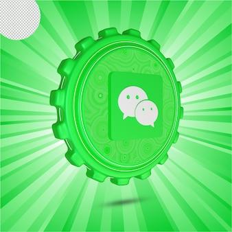 Glänzendes wechat-logo isoliert 3d-design
