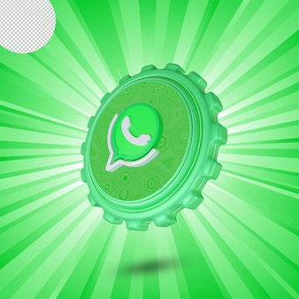 Glänzendes whatsapp-logo isoliert 3d-design