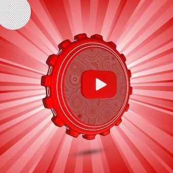 Glänzendes youtube-logo isoliert 3d-design