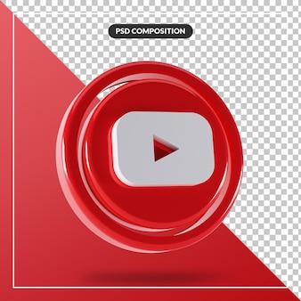 Glänzendes youtube-logo isolierte 3d-design
