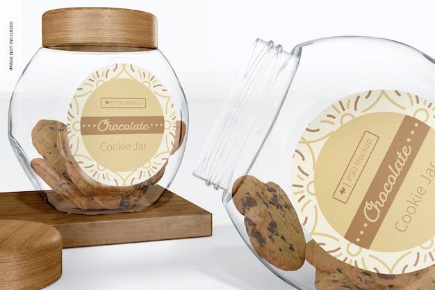 Glas keksdose mockup, nahaufnahme