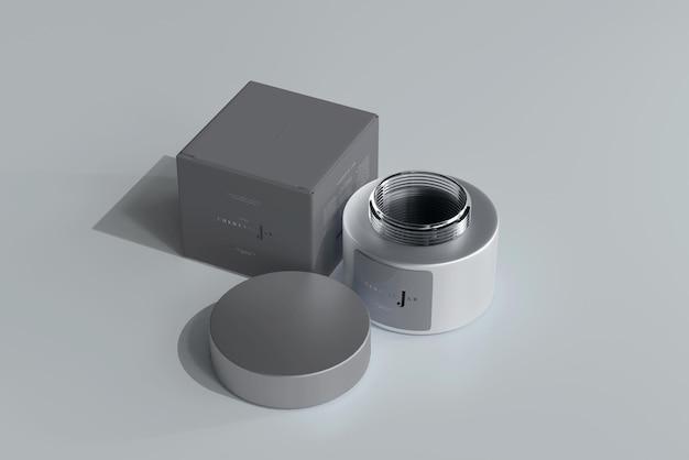 Glas kosmetikglas und box mockup Kostenlosen PSD