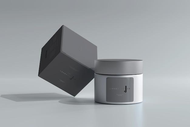 Glas kosmetikglas und box mockup