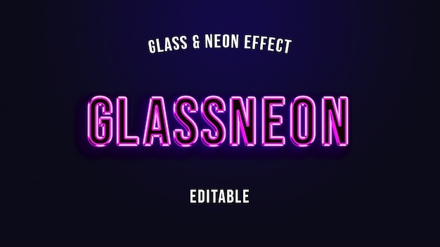 Glas neon schriftart textvorlage