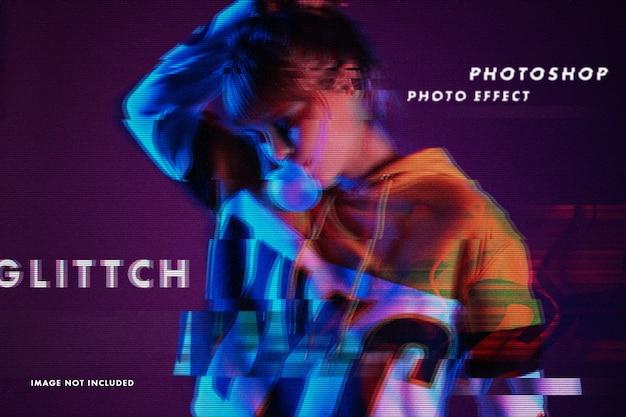 Glitch photo effect psd