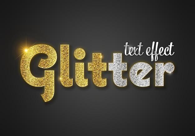 Glitzer-texteffekt mit goldenen buchstaben mockup