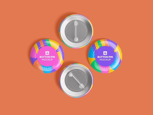 Glossy circle button pin mockup psd
