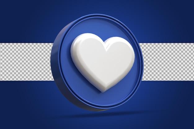 Glossy love social media logo symbol 3d-rendering