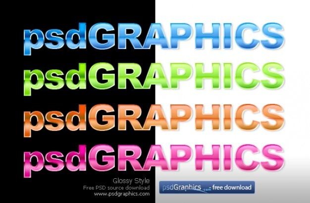 Glossy text photoshop stil