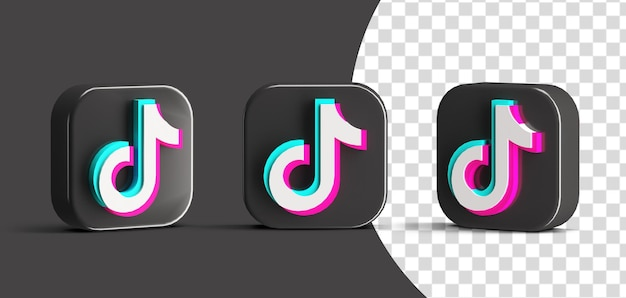 Glossy tiktok button social media logo icon set 3d render szene schöpfer isoliert