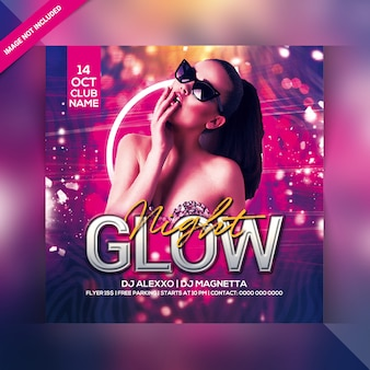 Glow night party flyer