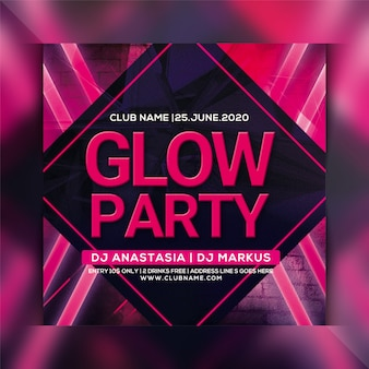 Glow party flyer