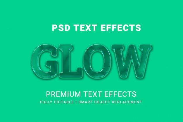 Glow text effekte psd-vorlage auf grün