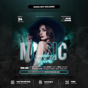 Glowing light music festival social media beitragsvorlage