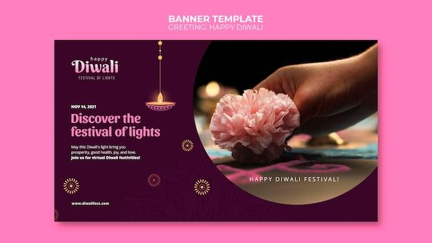 Glückliche diwali-fahnenschablone