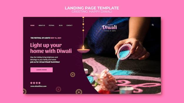 Glückliche diwali-webvorlage