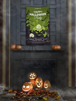 Glückliche halloween-party mit schmelzendem großem kessel und kürbisen