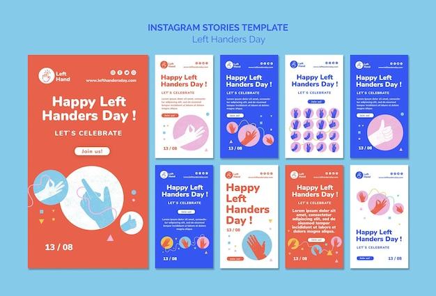 Glückliche linkshänder tag instagram geschichten vorlage