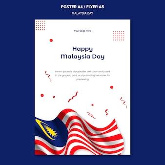 Glückliche malaysia-tagesplakatschablone