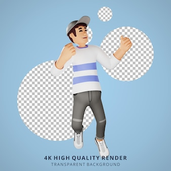 Glückliche springende 3d-charakterillustration der jungen leute