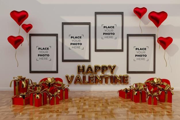 Glückliche valentinstagsszene mit rahmen