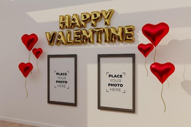 Glückliche valentinstagsszene mit rahmenmodell