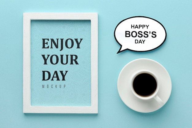 Glücklicher chef tag mit kaffee und rahmen