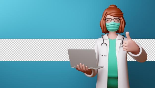 Glücklicher doktor, der maske daumen hoch mit notizbuch in 3d-rendering trägt