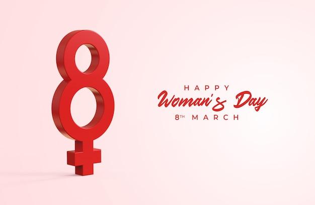 Glücklicher frauentag mit 3d acht und weiblichem geschlechtssymbol