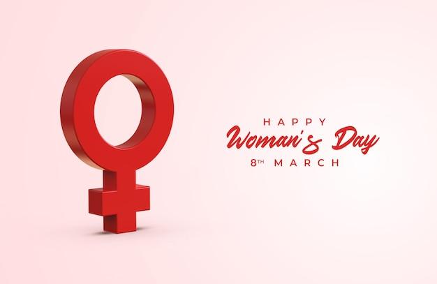 Glücklicher frauentag mit weiblichem symbol des geschlechts 3d