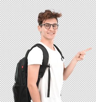 Glücklicher junger student, der mit seiner hand zeigt