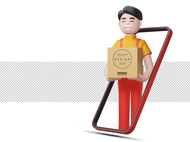 Glücklicher lieferbote halten die box mit telefon im 3d-rendering