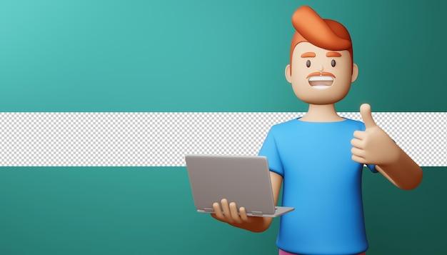 Glücklicher mann daumen hoch mit notebook 3d-rendering