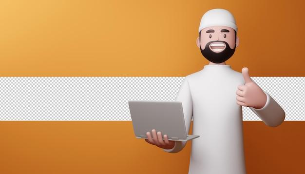 Glücklicher muslimischer mann daumen hoch mit notizbuch in 3d-rendering