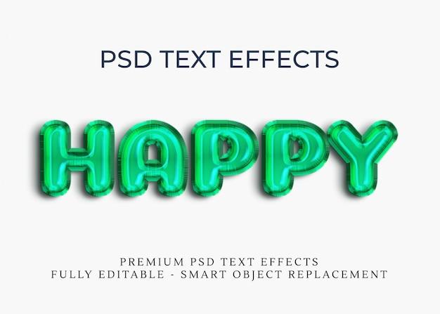 Glücklicher text-arteffekt des ballon-grüns 3d