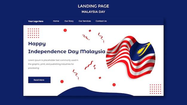 Glücklicher unabhängigkeitstag malaysia landingpage vorlage