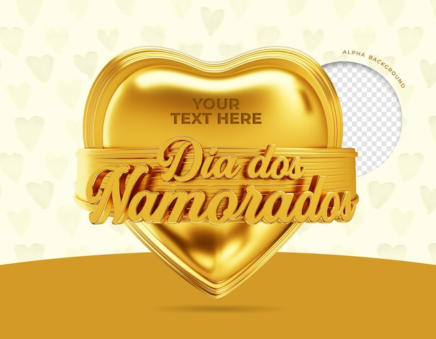 Glücklicher valentinstag 3d in brasilien