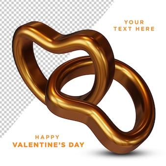 Glücklicher valentinstag goldener liebesring 3d-rendering isoliert