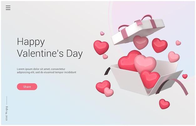 Glücklicher valentinstag mit 3d-geschenkwiedergabe