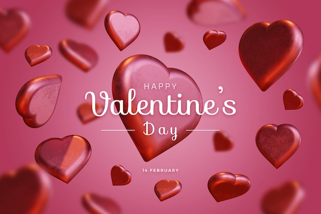 Glücklicher valentinstag mit liebe 3d, die kühnes modell macht