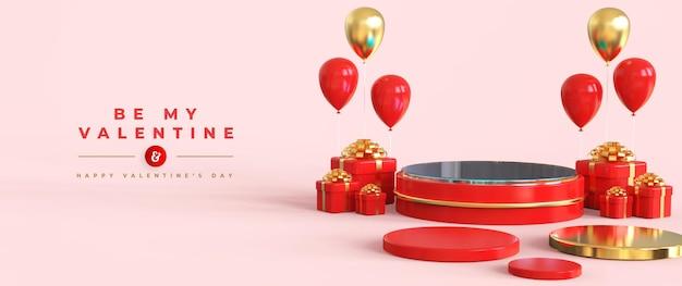 Glücklicher valentinstag mit podium für produktpräsentation und 3d-komposition