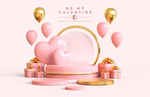 Glücklicher valentinstag mit podium und romantischer kreativer 3d-komposition