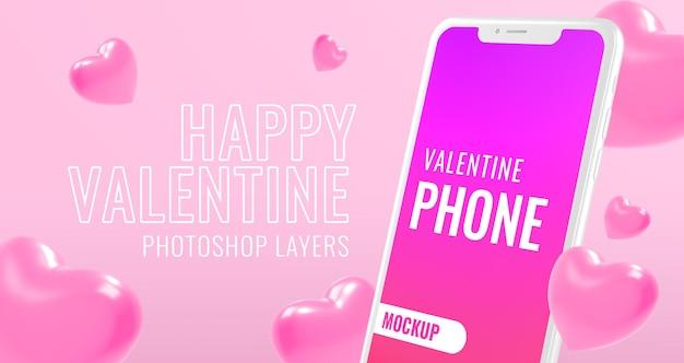 Glücklicher valentinstagstext mit smartphone-modell