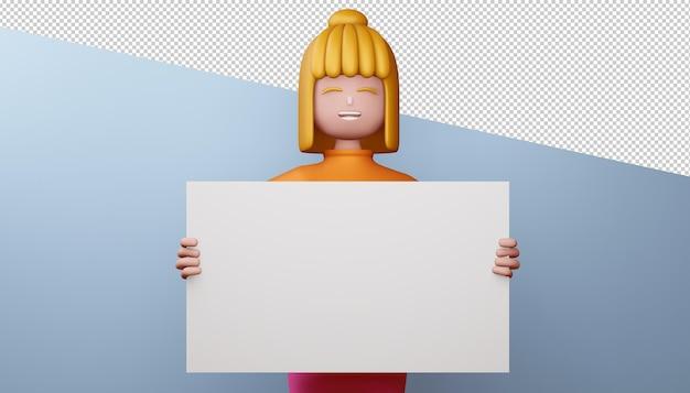 Glückliches mädchen mit 3d-rendering des leeren bildschirms