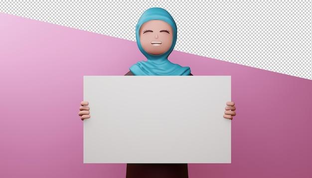 Glückliches muslimisches mädchen mit 3d-rendering des leeren bildschirms